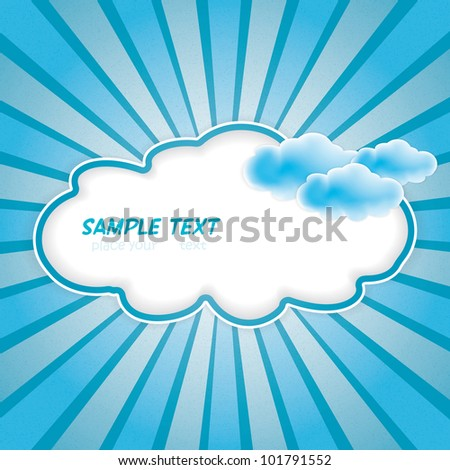 Vector grunge blue clouds.Frame