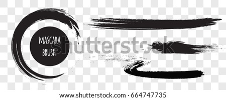 Vector grunge brush stroke, circle isolated on transparent background. Realistic vector black mascara smudge, cosmetics elements concept. Realistic vector black mascara swatch.