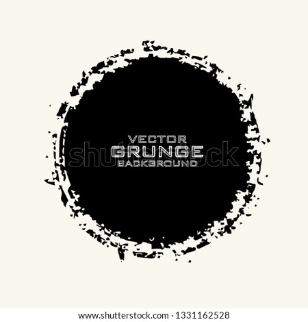 Vector grunge circle. Dirty artistic design elements isolated on white background. Black ink vector brush stroke. Grunge round shape. #1331162528