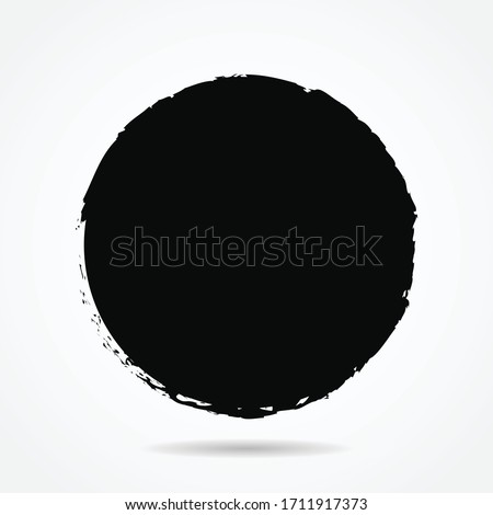 Vector grunge circle version 1 with simple style, grunge round shape, grunge banner - Color circle brush stroke with black color isolated on white background, Vector Illustration eps 10