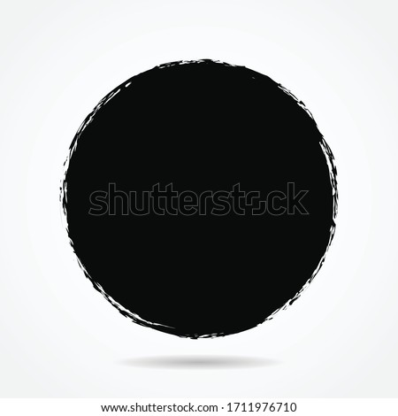 Vector grunge circle version 6 with simple style, grunge round shape, grunge banner - Color circle brush stroke with black color isolated on white background, Vector Illustration eps 10