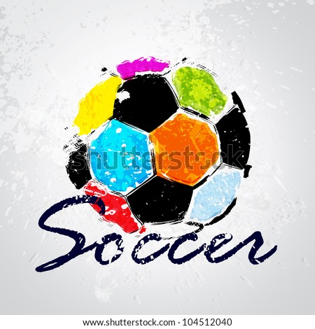 Vector Grunge Color Full Soccer Ball