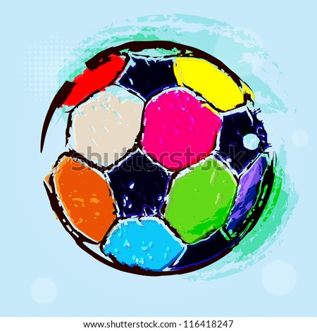 Vector Grunge Color Full Soccer Ball / Vector Grunge Football