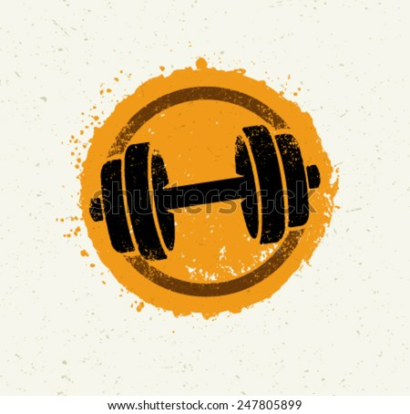 Vector Grunge Dumbbell Icon on Recycled Paper Background