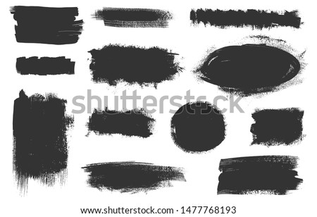 Vector grunge elements. Set of grungy hand drawn backgrounds, frames isolated on white. Chinese, Japanese, Korean ink brush strokes. Vector illustration