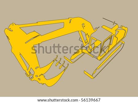 vector grunge excavator