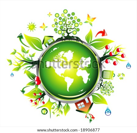 VECTOR grunge fantasy globe and environment background