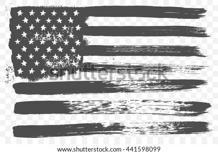 Vector grunge flag of United States of America the horizontal orientation.
