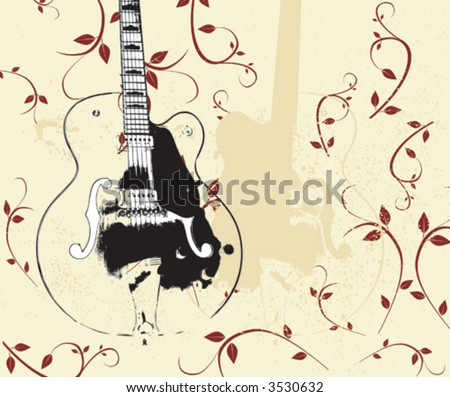 Vector Grunge Guitar and Flowers