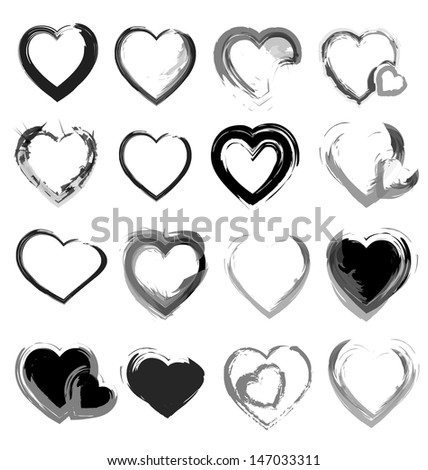 vector grunge hearts collection