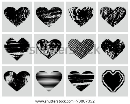 Vector grunge hearts set.