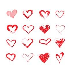 vector grunge hearts set, Valentine day, illustration vintage design element