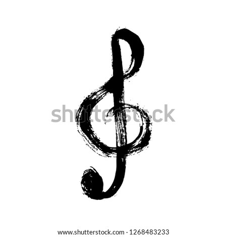 Vector grunge illustration of hand drawn black treble clef isolated on the white background.