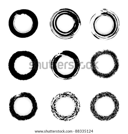Vector grunge ink brush Circle border sets