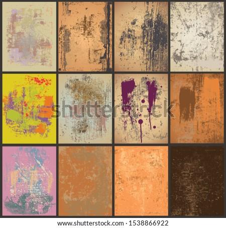 Vector grunge multiple overlay backgrounds set