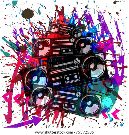 vector grunge music background with tape recorder