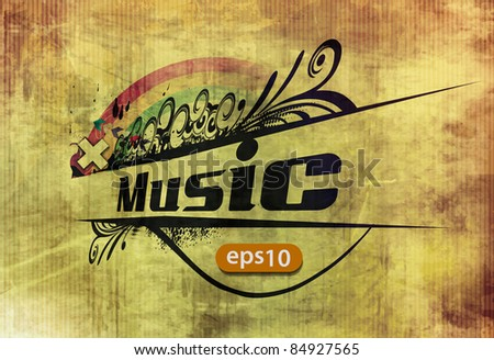 vector grunge musical floral banner background - stock vector