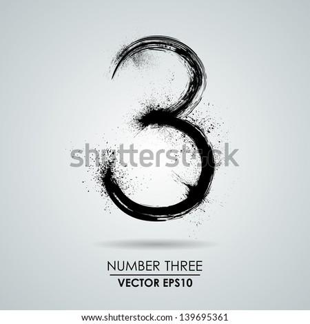 vector grunge number   three