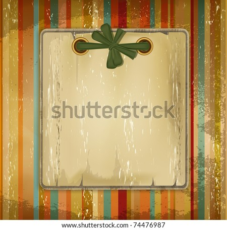 vector grunge old album with a bow on the striped background