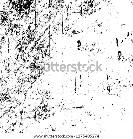 Vector grunge overlay texture. Black and white background. Abstract monochrome image includes a faded effect in dark tones #1275405274