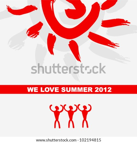 Vector grunge pattern - peoples under sun (i love summer 2012). - stock vector