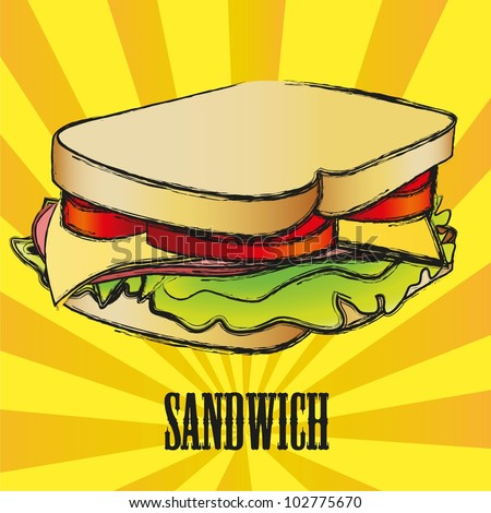 vector grunge Sandwich over yellow and orange stripes, vector illustration