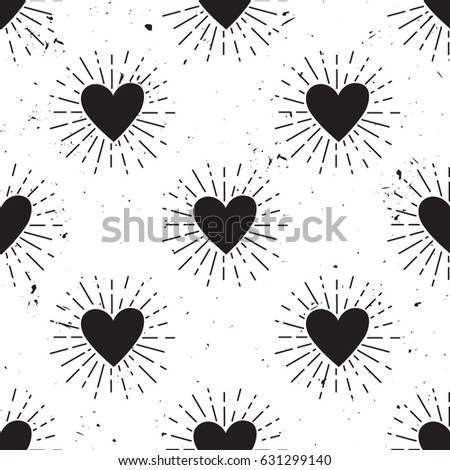 Vector grunge seamless pattern with heart and sunburst