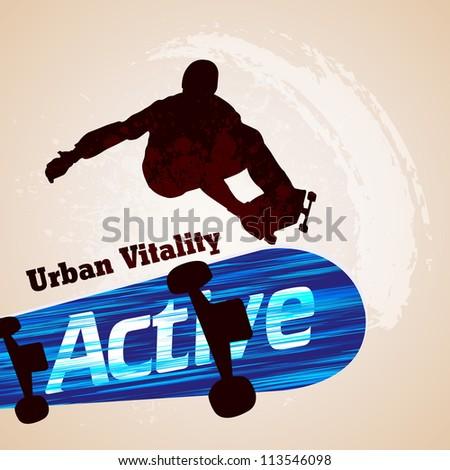 Vector grunge skateboarding