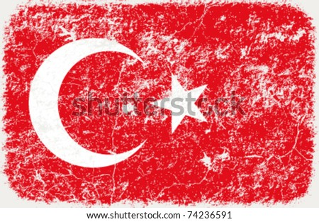 vector grunge styled flag of turkey