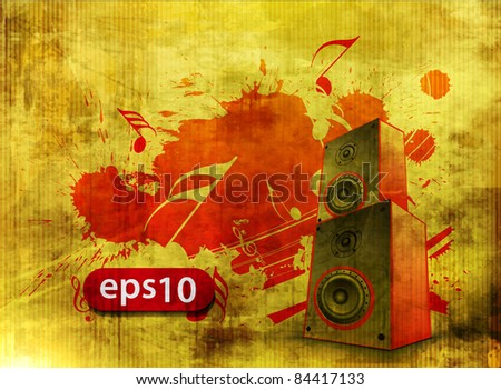 Vector grunge texture background, music speakers design