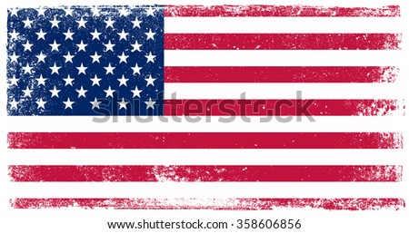 Vector grunge USA flag.American flag with grunge texture. #358606856