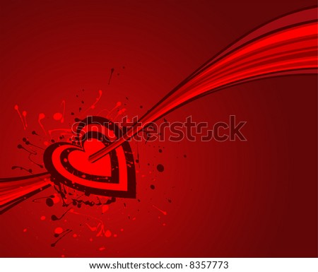 vector grunge valentine of a smitten heart on red background