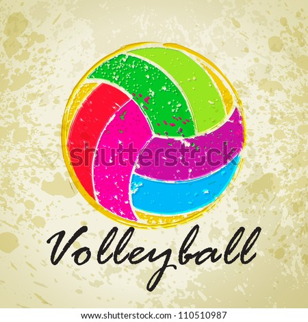 Vector Grunge Volleyball With Grunge Backgrounds