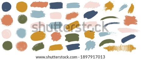 Vector grunge watercolor ink texture set of hand painted pastel powder color dry brush splashes, strokes, stains, spots, elements, stripes, lines, templates, dirty geometric shapes. Freehand drawing. Photo stock ©