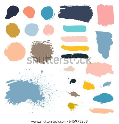 Vector grunge watercolor ink texture set of hand painted pastel powder color dry brush splashes, strokes, stains, spots, elements, stripes, lines, templates, dirty geometric shapes. Freehand drawing. Сток-фото ©