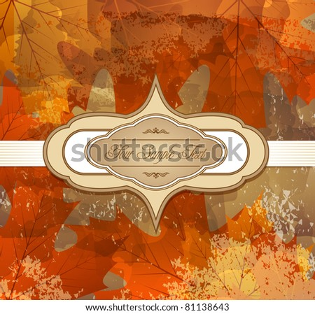 vector grungy background autumn congratulatory with maple leaves and label