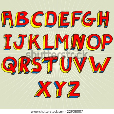 VECTOR Grungy colourful, hand drawn alphabet / font / letters.