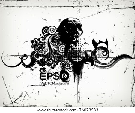 vector grungy floral illustration with scull - stock vector