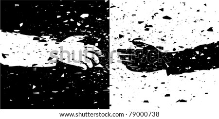 vector grungy illustration of black and white hands