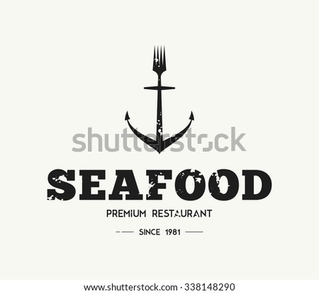 Vector grungy logo template restaurant, bar, mediterranean food, anchor, fork, brand, branding, logotype, company, corporate, identity. Retro vintage, hipster style design