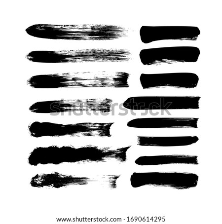 Vector grungy paint brush strokes collection. Calligraphy straight smears, stamp, lines. Hand drawn ink illustration isolated on white background. Vector black paint, ink brush stroke, line or texture