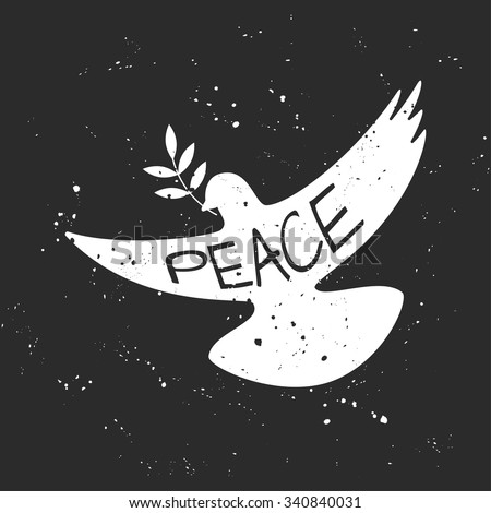 vector grungy peace dove with...
