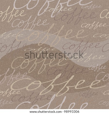 Vector grungy seamless pattern with coffee inscriptions