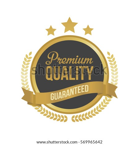 Vector Guaranteed Premium Quality Gold Sign, Round Label