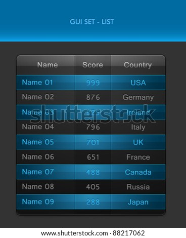 Vector GUI Set - List