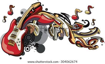Vector guitar & arrows graffiti