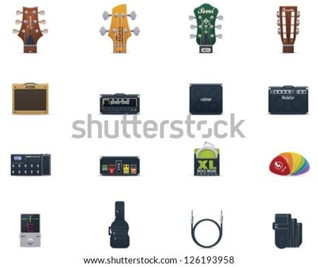 vector guitar icons set part 1