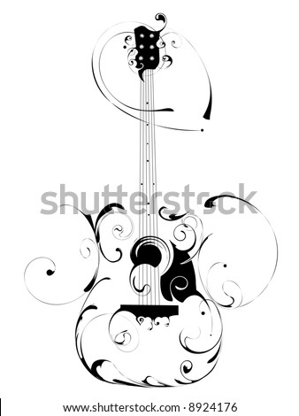 vector guitar six strings, music instrument