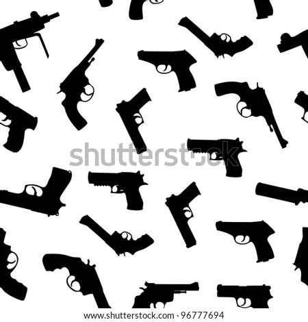 stock vector : Vector guns set seamless pattern