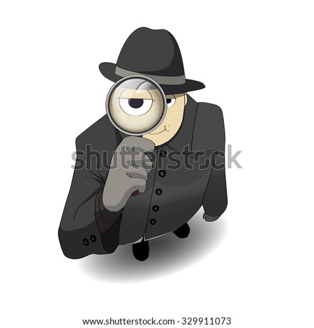 vector guy detective with